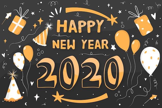Nouvel an de fond au design plat