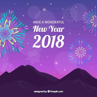 Nouvel an, fond coloré, feu d'artifice