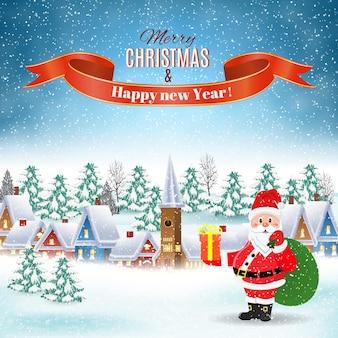 Nouvel an et fond de paysage d'hiver de noël avec le père noël avec sac-cadeau. illustration vectorielle. concept de voeux ou de carte postale.