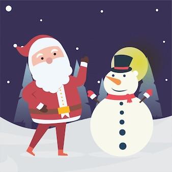 Nouvel an et hiver de noël avec le père noël et le bonhomme de neige