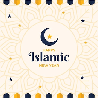 Nouvel an islamique avec étoiles et croissant de lune