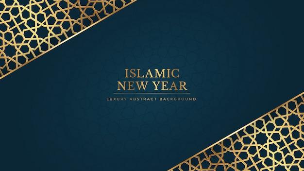Nouvel an islamique heureux muharram fond bleu abstrait dans un style élégant ornemental doré