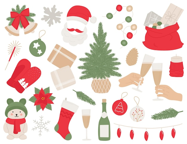 Nouvel an mis à la main de nombreux éléments arbre de noël cloches boule champagne cadeaux guirlandes