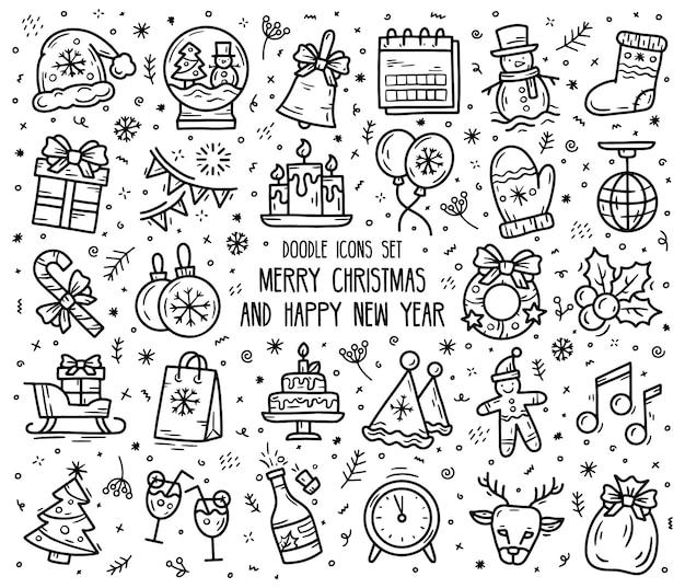 Nouvel an et noël ensemble d'icônes linéaires vectorielles dans le style de croquis de doodle