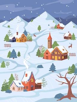 Nouvel an noël village rural paysage chalets et arbres dans la neige vecteur de conception de dessin animé plat