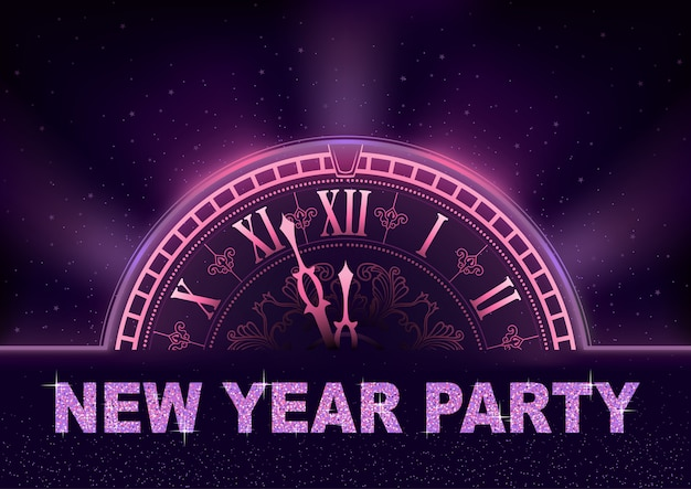 Nouvel an party background dans les tons violets avec cadran d'horloge
