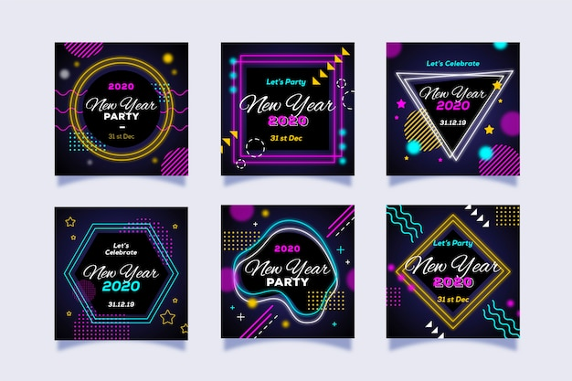 Nouvel an party instagram post set