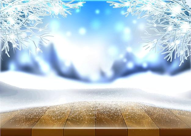 Nouvel an vacances affiche fond table en bois couvert de glace hiver arbres gelés
