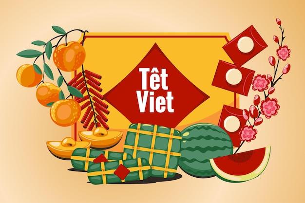 Nouvel an vietnamien têt dessiné à la main