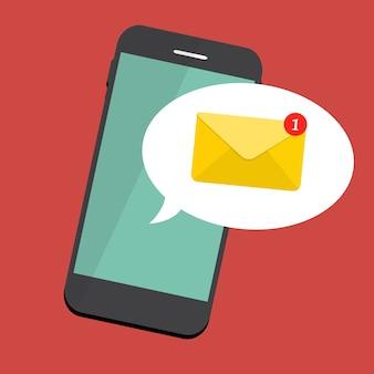 Nouvel e-mail sur le concept de notification de l'écran du smartphone