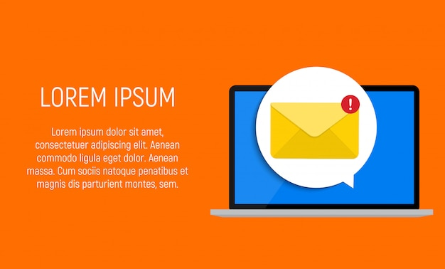 Nouvel e-mail sur le concept de notification d'écran d'ordinateur portable. illustration