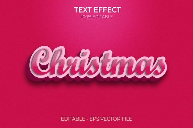 Nouvel effet de texte 3d créatif de noël vecteur premium de style de texte gras modifiable moderne