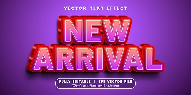 Nouvel effet de texte d'arrivée avec style de texte modifiable