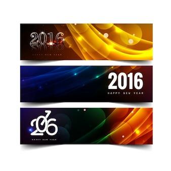 Nouvelle année riche en couleurs de 2016 bannières
