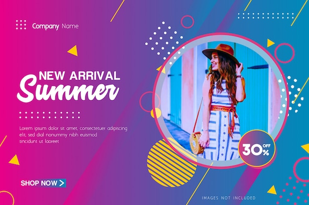 Nouvelle arrivée offre de vente d'été bannière avec motif géométrique