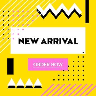 Nouvelle bannière publicitaire d'arrivée avec typographie sur jaune