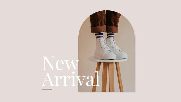 Nouvelle bannière publicitaire de mode esthétique de vecteur de modèle de magasinage d'arrivée