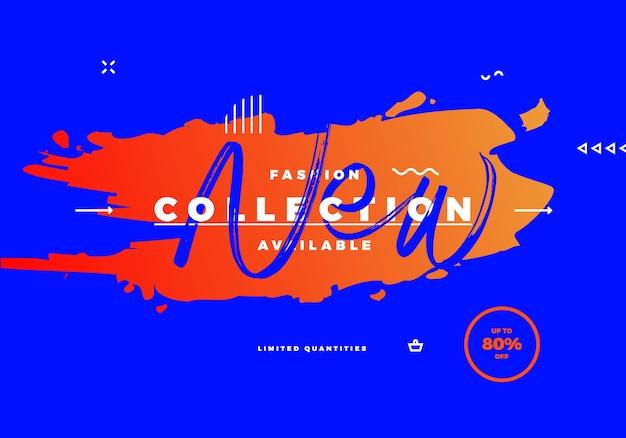Nouvelle bannière de vente de collection de mode avec brosse sur fond