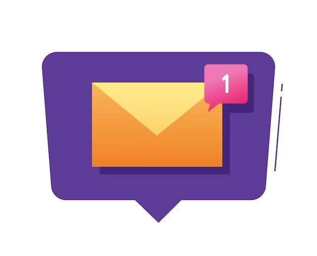 Nouvelle bulle de notification de message électronique et illustration de sms de texte entrant de boîte de réception de notification de courrier électronique moderne