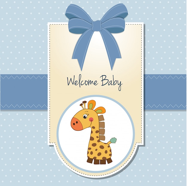 Nouvelle carte d'annonce de bébé garçon avec girafe