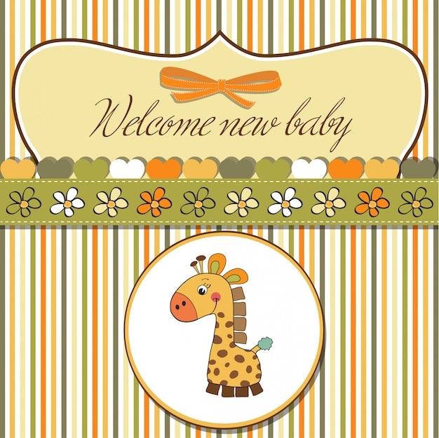 Nouvelle carte d'annonce de bébé avec girafe