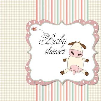 Nouvelle carte d'annonce de bébé fille avec vache