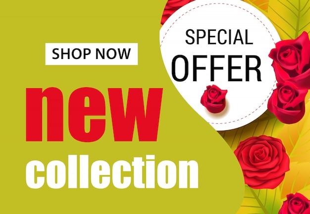 Nouvelle collection de lettres avec des roses rouges. publicité saisonnière d'offre ou de vente