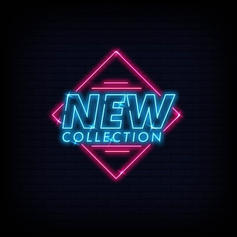 Nouvelle collection, néon, vecteur, texte