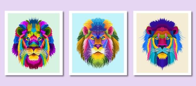 Nouvelle collection tête colorée lion pop art style portrait décoration isolée