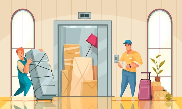 Nouvelle composition de dessin animé d'intérieur de maison avec service de déménagement apportant des meubles de réfrigérateur