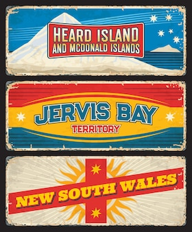 Nouvelle-galles Du Sud, Territoire De Jervis Bay, îles Heard Et Mcdonald, Plaques D'état Australien Vecteur Premium