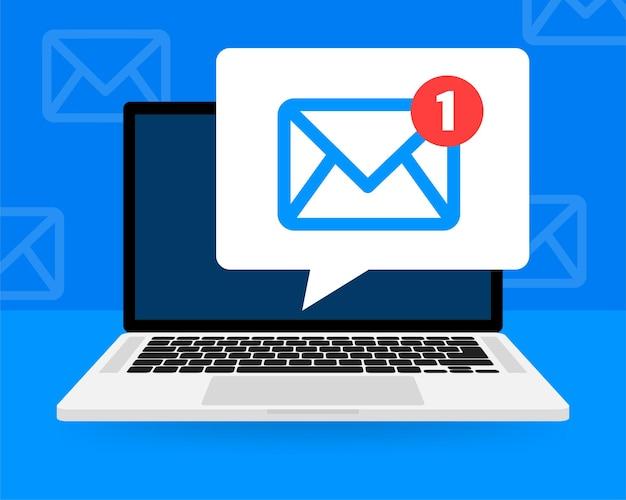Nouvelle icône de message sur l'écran de l'ordinateur portable
