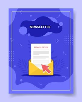Nouvelle lettre dans enveloppe, affiche. livres couvrent des magazines avec la conception de vecteur de style de forme liquide