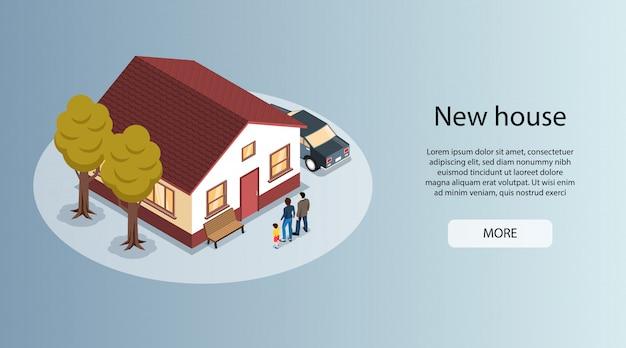 Nouvelle maison dans la ville isométrique horizontale bannière d'agent immobilier site web avec maison de famille à vendre