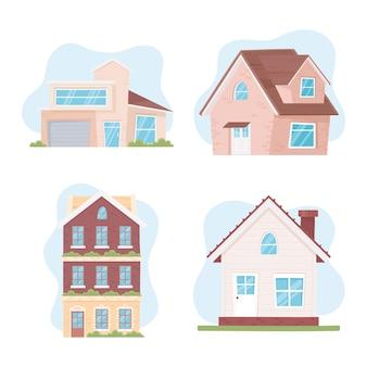 Nouvelle maison, définir différentes maisons dans un style de construction en bois de brique