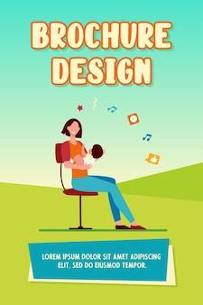 Nouvelle maman tenant bébé dans les bras. mère et petit enfant assis sur une chaise illustration vectorielle plane
