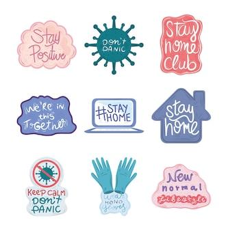 Nouvelle normale, après le coronavirus covid 19, sertie d'icônes de motivation et de messages positifs