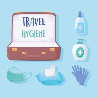 Nouvelle normale après covid 19 voyage hygiène valise masque papier de soie gel illustration