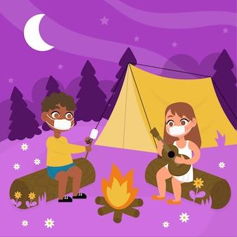 Nouvelle normalité dans les camps d'été avec des gens