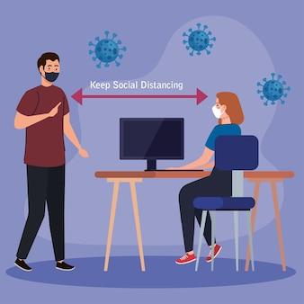 Nouvelle norme de distanciation sociale entre homme et femme avec masque à la conception du bureau du virus covid 19 et thème de la prévention