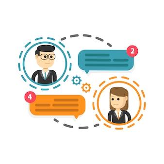 Nouvelle notification de messages de chat, réseau social, actualités, bulle de dialogue