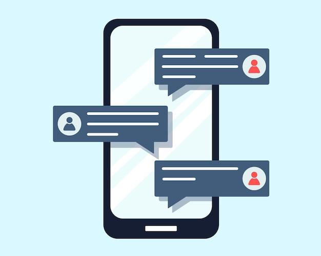 Nouvelle notification de messages de discussion sur l'illustration de conception plate de message téléphonique en dessin animé