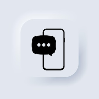 Nouvelle notification sms sur téléphone mobile, écran de smartphone avec nouveau message non lu. bouton web de l'interface utilisateur blanc neumorphic ui ux. neumorphisme. vecteur eps 10.