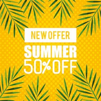 Nouvelle offre d'été à 50% de rabais, bannière avec branches et feuilles, bannière florale exotique
