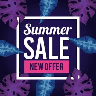 Nouvelle offre de vente d'été, bannière avec des feuilles tropicales, bannière florale exotique