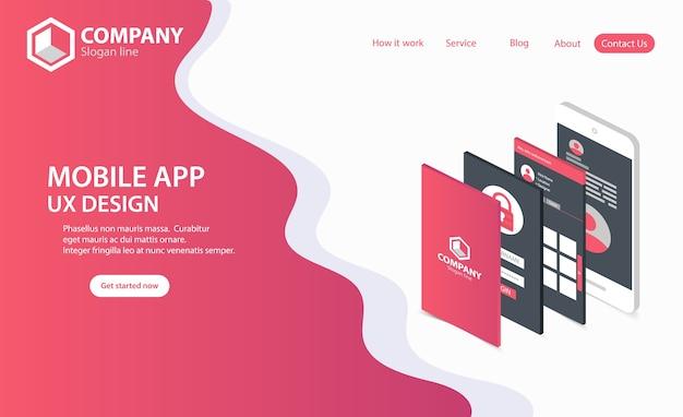Nouvelle page d'accueil du site web trendy mobile app