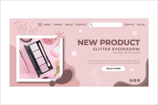 Nouvelle page de destination de maquillage de produit