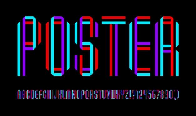 Nouvelle police, alphabet étroit, lettres pliées à partir de bandes colorées
