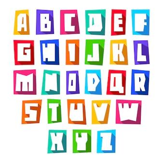 Nouvelle police coupe les lettres blanches vecteur majuscules