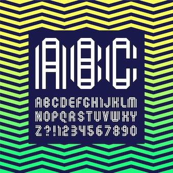 Nouvelle police pliée à partir de deux bandes de papier. alphabet à la mode, lettres vectorielles blanches sur fond sombre.